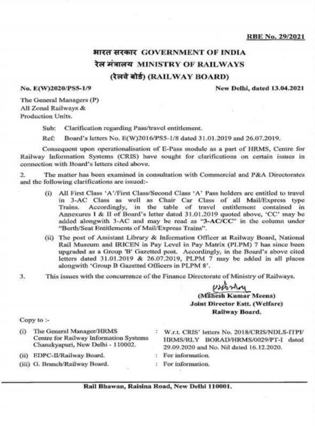 Clarification regarding Pass/travel entitlement – Railway Board RBE No. 29/2021