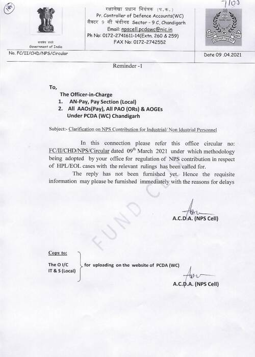 Clarification on NPS Contribution for Industrial/ Non-Idustrial Personnel