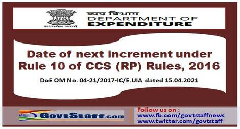 Date of next increment under Rule 10 of CCS (RP) Rules, 2016 – Another opportunity to exercise/re-exercise option