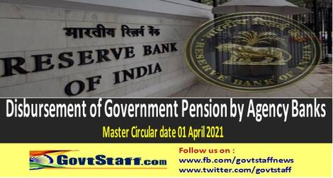 Disbursement of Government Pension by Agency Banks – Master Circular by RBI