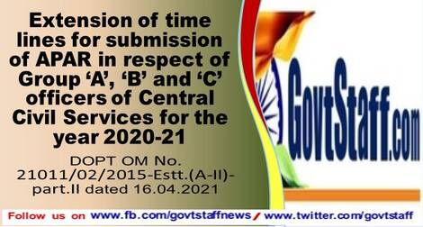 Extension of time lines for submission of APAR in respect of Group 'A', 'B' and 'C' officers of Central Civil Services for the year 2020-21