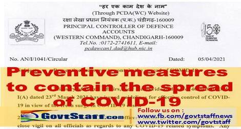 Preventive measures to contain the spread of COVID-19 – Keeping close vigil on all officials as regards to any COVID-19 related symptoms