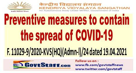 Preventive measures to contain the spread of COVID-19: KVS orders on alternate day attendance
