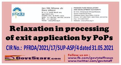 NPS: Relaxation in processing of exit application by PoPs