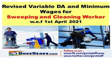 Revised Variable DA and Minimum Wages for Sweeping and Cleaning Worker w.e.f 1st Apr 2021