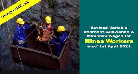 Revised Variable DA & Minimum Wages for Mines Workers w.e.f 1st April 2021