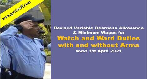 Revised Variable Dearness Allowance and Minimum Wages for Watch and Ward Duties with and without Arms w.e.f 1st April 2021