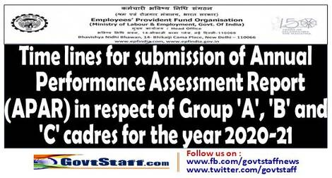 APAR : EPFO Circular regarding timelines for submission of Annual Performance Assessment Report (APAR) in respect of Group 'A', 'B' and 'C' cadres for the year 2020-21