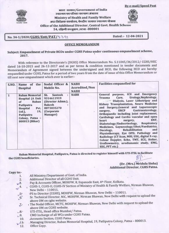 CGHS : Empanelment of Ruban Hospital under CGHS Patna