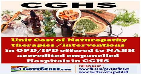 CGHS : Unit cost of Naturopathy therapies / interventions in OPD/IPD for NABH accredited empanelled Hospitals