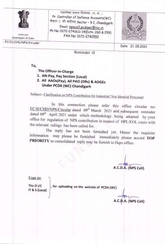 Clarification on NPS Contribution for Industrial/Non Industrial Personnel – PCDA Circular dated 21.05.2021