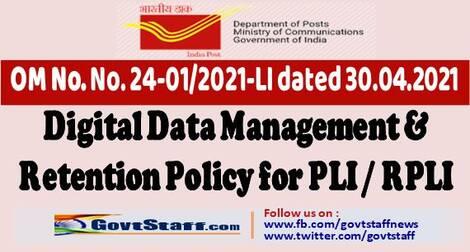 Dept of Posts: Digital Data Management & Retention Policy for PLI/RPLI