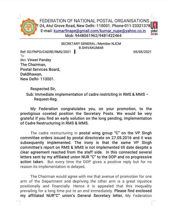 Early Implementation of Cadre Restructuring to RMS & MMS – FNPO request reg