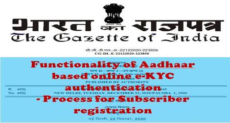 Functionality of Aadhaar based online e-KYC authentication – Process for Subscriber registration – PFRDA Circular dated 27-04-2021