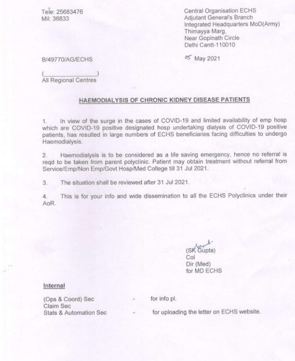 Haemodialysis of chronic kidney disease patients without referral till 31 Jul 2021: ECHS order dated 05.05.2021