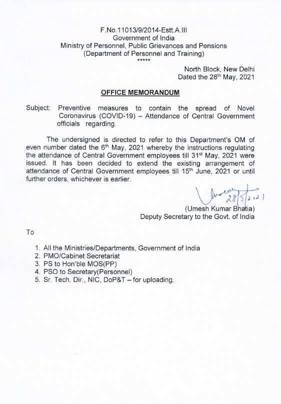 Preventive measures to contain the spread of Novel Coronavirus (COVID-19) — Attendance of Central Government officials : DoPT OM dated 28-05-2021