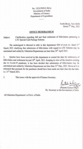 settlement-of-full-and-final-bills-claims-pertaining-to-ltc-special-cash-package-scheme
