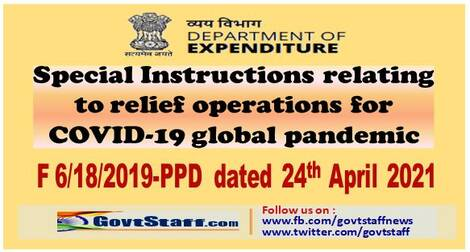 Special Instructions relating to relief operations for COVID-19 global pandemic – Finmin OM dated 24-04-2021