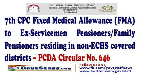 7th CPC Fixed Medical Allowance (FMA) to Ex-Servicemen Pensioners/Family Pensioners residing in non-ECHS covered districts – PCDA Circular No. 646