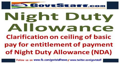 7th CPC: Clarification on ceiling of basic pay for entitlement of payment of Night Duty Allowance (NDA)