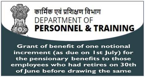Grant of one Notional Increment (as due on 1st July) for the pensionary benefits to those who retires on 30th June