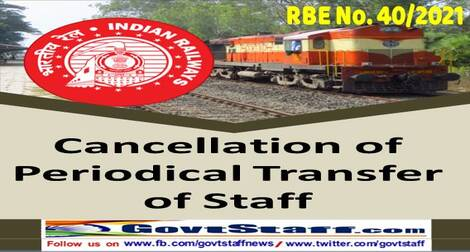 Periodical transfer orders of the staff working on sensitive posts be pended till 30th September 2021 – RBE No. 40/2021