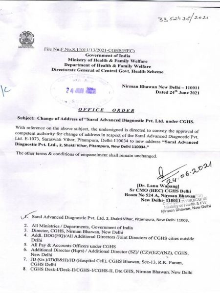 change-of-address-of-saral-advanced-diagnostic-pvt-ltd-under-cghs
