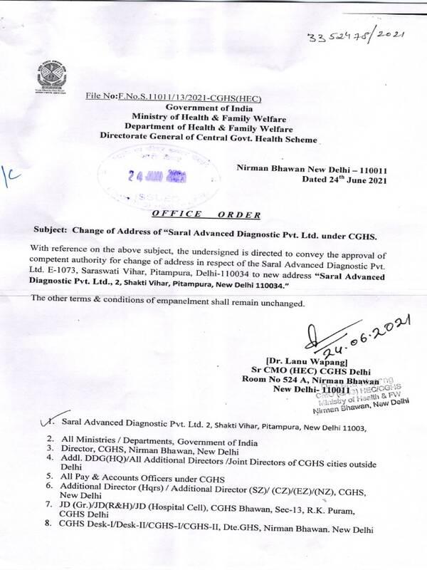 "Change of Address of ""Saral Advanced Diagnostic Pvt. Ltd. under CGHS"