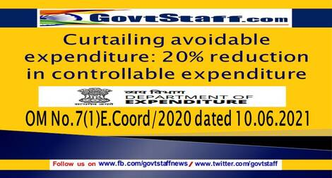 Curtailing avoidable expenditure: 20% reduction in controllable expenditure – FinMin OM No.7(1)E.Coord/2020 dated 10.06.2021