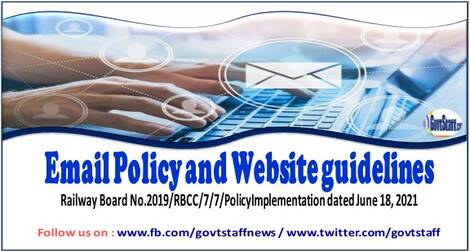 Email Policy and Website guidelines – Railway Board order dated 18-06-2021