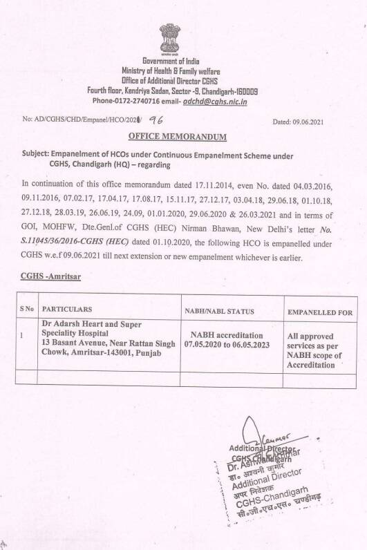 Empanelment of Dr Adarsh Heart and Super Speiality Hospital, Amritsar under CGHS from 07.05.2020 to 06.05.2023
