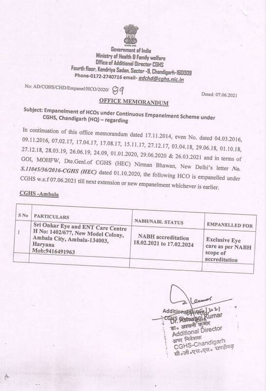 Empanelment of Sri Onkar Eye and ENT Care Centre, Ambala under CGHS from 18.02.2021 to 17.02.2024
