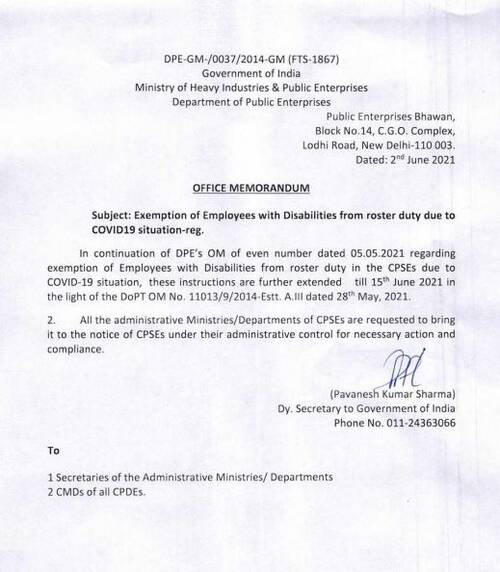 Exemption of Employees with Disabilities from roster duty due to COVID19 situation extended till 15th June 2021