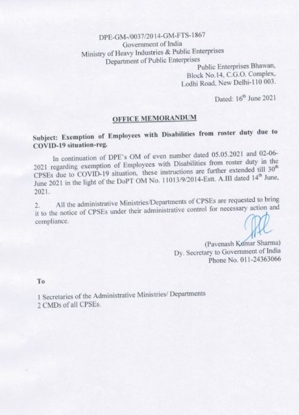 exemption-of-employees-with-disabilities-from-roster-duty-further-extended-till-30th-june-2021