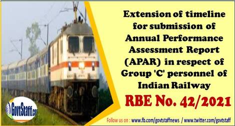 Extension of timeline for submission of Annual Performance Assessment Report (APAR) in respect of Group 'C' personnel of Indian Railway