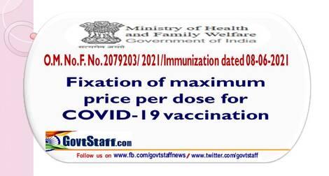 Fixation of maximum price per dose for COVID-19 vaccination – MoH&FW O.M F. No. 2079203/ 2021/Immunization dated 08th June, 2021