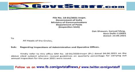 Inspections of Administrative and Operative Offices: DoP Order dated 23.06.2021
