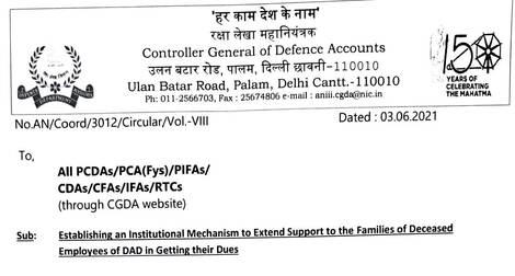 Nomination of an Officer to extend support to the Families of Deceased Employees of DAD in getting their Dues – Establishment of Institutional Mechanism reg.