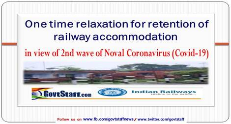 RBE No. 36/2021 – One time relaxation for retention of railway accommodation in view of 2nd wave of Noval Coronavirus (Covid-19)