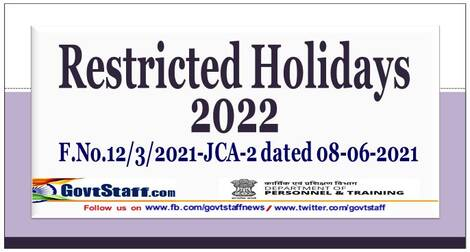 Restricted Holidays to be observed in Central Government Offices during year 2022