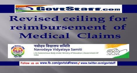 Revised ceiling for reimbursement of Medical Claims – Navodaya Vidyalaya Samiti order dated 07-06-2021