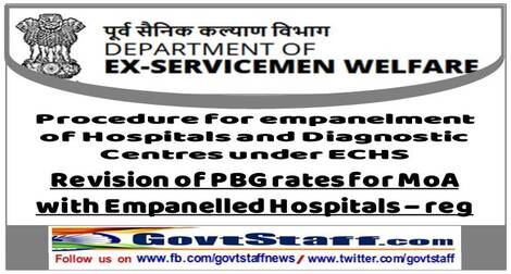 Revision of Performance Bank Guarantee (PBG) rates for MoA with Empanelled Hospitals under ECHS – DESW's No. 22D(05) /2019-D(WE/Res-I) dated 16 June, 2021