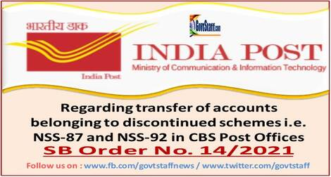 Transfer of accounts belonging to discontinued schemes i.e. NSS-87 and NSS-92 in CBS Post Offices – SB Order No. 14/2021