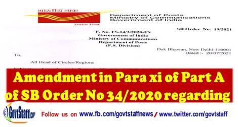 SB Order 19/2021: Amendment in Para xi of Part A of SB Order No 34/2020