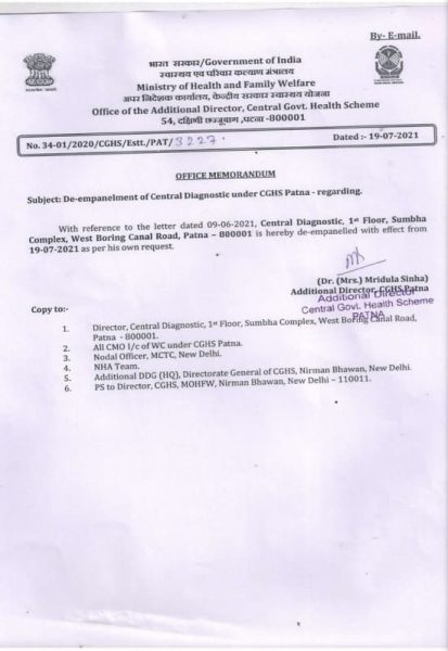 De-empanelment of Central Diagnostic under CGHS Patna