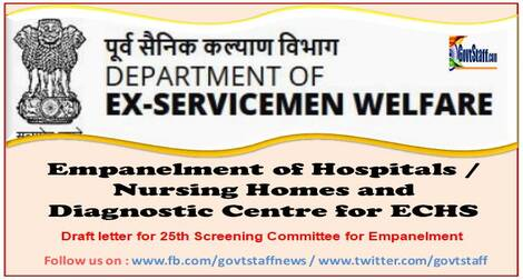 DESW: Empanelment of Hospitals / Nursing Homes and Diagnostic Centre for ECHS – Draft letter for 25th Screening Committee for Empanelment