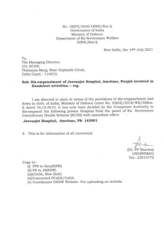 Dis-empanelment of Jeevanjot Hospital, Amritsar, Punjab involved in fraudulent activities – reg