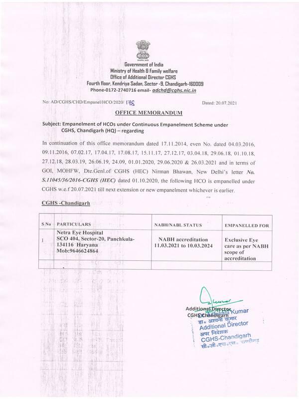 Empanelment of Netra Eye Hospital, Haryana under CGHS Chandigarh – CGHS O.M dated 20.07.2021