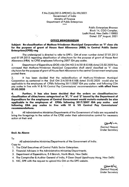 7th CPC HRA : Re-classification of Mathura-Vrindavan as 'Y' class city for House Rent Allowance to the employees of CPSEs