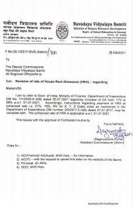 Revision of rate of House Rent Allowance (HRA) - Navodaya Vidyalaya